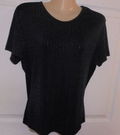 RALPH LAUREN Pull over Top Embossed fabric Black Size Large Short Sleeves #RalphLauren #PULLONTOP #Casual
