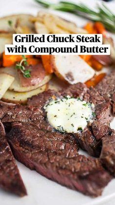 Grilled Chuck Steak Recipe, Chuck Steak Marinade, Chuck Steak Recipes, Beef Chuck Steaks, Beef Chuck Roast, Beef Marinade, Chuck Tender Steak Recipe, Roast Beef, Sirloin Steaks