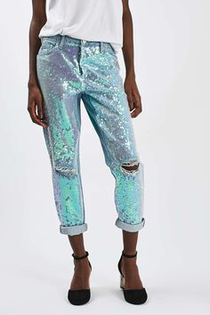 Nordstrom Jeans - Topshop Sequin Destroyed Boyfriend Jeans available at Denim Fashion, Fashion Outfits, Womens Fashion, Fashion Tips, Tumblr Mode, Sequin Jeans, Embellished Jeans, Nordstrom Jeans, Ripped Jeggings