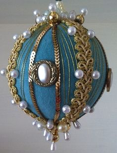Med blue and gold vintage look Christmas ornaments