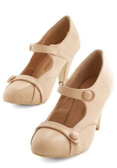 Wear Anywhere Heel in Creme - Mid, Faux Leather, Cream, Solid, Buttons, Work, Vintage Inspired, 20s, Good, Mary Jane, Variation