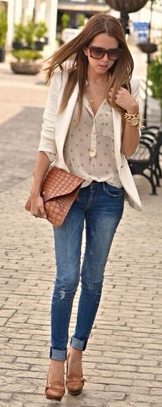 Tan acessories and white blazer