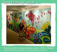 Bottle Cap Art Mural | plastic lid murals | Plastic lids & Plastic Bottle Caps wall mural ...