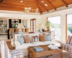 Cape Cod Themed Living Room | ... that gives the conservatory/family room a sophisticated, summery feel