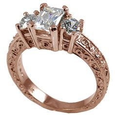 14k Rose Gold 3 Stone Antique Emerald Cut Cubic Zirconia Ring