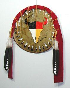 Authentic Native American Lakota Indian Buffalo Spirit Four Colors Medicine Shield
