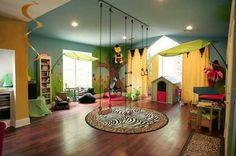 Urban Jungle Playroom! Only thing that would make this better would be mats under the swing set