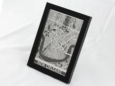 Seattle Washington Stainless Steel Laser Cut Map 5x7 Framed