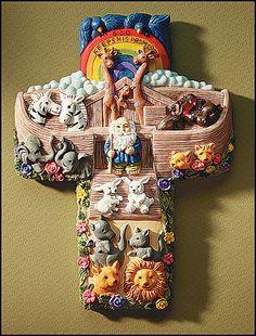 Noah's Ark Wall Cross For Children God Keeps His Promises