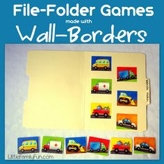 Make your own File Folder Games using wall-borders! (Using bulletin board boarders from Dollar Store) Cut apart, glue one set in file folder, use 2nd set for matching) Easy & fun for preschoolers.