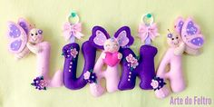 Luanas Name im Thema Schmetterling in rosa und violettem Ton – Guirlanda de Flores Baby Shower Crafts, Baby Crafts, Felt Crafts, Diy And Crafts, Felt Name Banner, Felt Letters, Name Banners, Butterfly Theme Party, Fabric Hearts