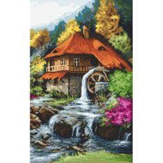 Cross stitch Cross stitch kit - Mill in the mountains Stitch Kit, Cross Stitch, Sad, Mountains, Crayons, Painting, Wood, Cross Stitch Landscape, Scenery