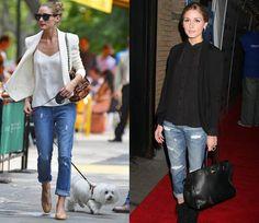 Capi che possiamo prendere il prestito dall'armadio maschile...........I boyfriend jeans, ovvero quel tipo di jeans abbondante e leggermente oversize, si tratta di un jeans difficile da indossare è necessario trovare il modello perfetto per noi (per evitare l'effetto trasandato).Da copiare sono gli outfit di Olivia Palermo,indossa questi jeans sia con le ballerine ma anche con un tronchetto per slanciare la figura,questo capo sia estremamente versatile ed adatto per il giorno e per la sera.
