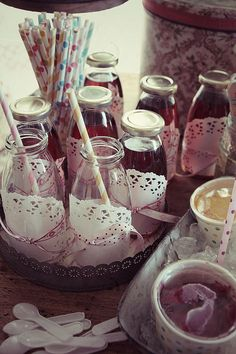 @Amanda Snelson cranford how cute?! You could do mason jars or even pale pink paper cups with the doily