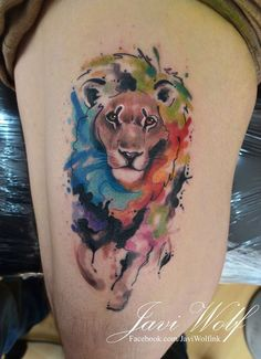 Watercolor + realism + sketch Lion Tattoo.Tattooed by javiwolfinkwww.javiwolf.com