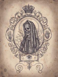 Daniel Martin Diaz, Santa Muerte, technique mixte sur papier.