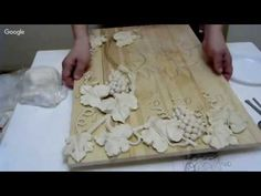 Master class the flower bas-relief of gypsum plaster DIY - YouTube