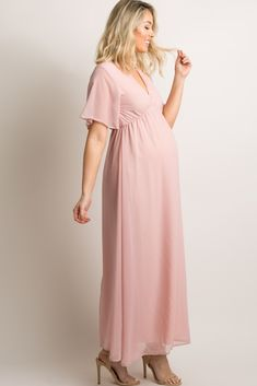 6e1622fa406 Mauve Chiffon Bell Sleeve Maternity Maxi Dress