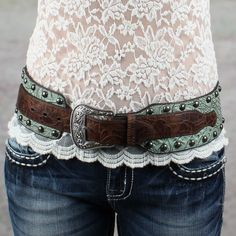 Roper Turquoise and Brown Gator Hip Belt - Women's Accessories - Women's