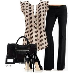 Polka dot shirt with black pants. Outfit