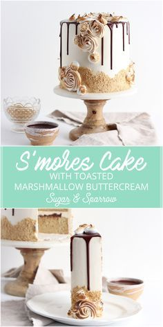 S'mores Cake that tastes JUST like the real deal: graham cracker cake, toasted marshmallow buttercream, and milk chocolate ganache, all dressed up with toasted meringue flourishes Marshmallow Buttercream, Toasted Marshmallow, Marshmallow Pops, Food Cakes, Cupcake Cakes, Cupcakes, Milk Chocolate Ganache, Chocolate Espresso, White Chocolate