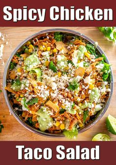 I've been making this Chicken Taco Salad recently and it's a real treat! There's some leeway on how you cook the chicken, but the Avocado Dressing is non-negotiable! The Avo Dressing gives it such a fresh, vibrant flavor and it's super easy to make too. Awesome :) Mexican Chicken Salads, Chicken Tacos, Mexican Cooking, Mexican Food Recipes, Amazing Recipes, Delicious Recipes, Yummy Eats, Yummy Food, Baked Corn