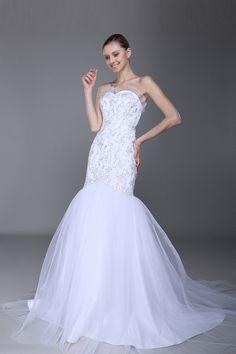 Mermaid White Organza Chapel Train Sweetheart Wedding Dress