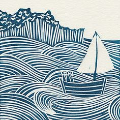 'Sea Days' linocut print