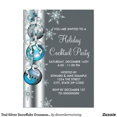 Teal Silver Snowflake Ornament Christmas Party 4.5x6.25 Paper Invitation Card