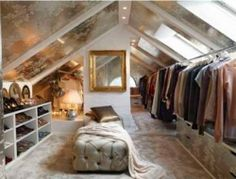 LOFT SPACE!  I also like the colours here. The gold with the white and the mirrors and glass. Really nice.