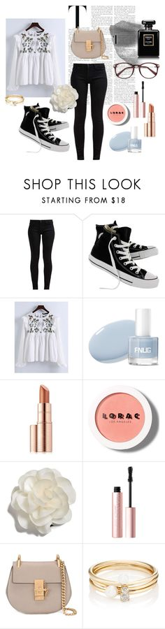 """""""Fresh Florals"""" by nazaz ❤ liked on Polyvore featuring 7 For All Mankind, Converse, WithChic, Estée Lauder, LORAC, Cara, Too Faced Cosmetics, Chloé and Loren Stewart"""