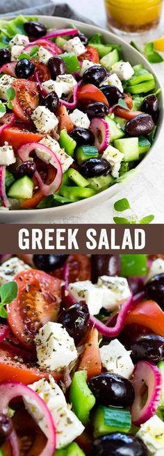 This Greek salad is a healthy vegetable packed appetizer drizzled with a homemade red wine vinegar dressing. Each serving contains creamy feta cheese, kalamata olives, tomatoes, bell peppers, cucumbers and red onion. #greeksalad #healthysalad