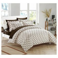 Finlay Geometric Diamond Reversible Duvet Cover Set 3 Piece (Queen) Brown - Chic Home Design