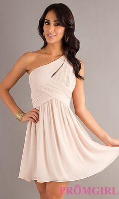 One Shoulder Short Dress with Full Skirt at PromGirl.com