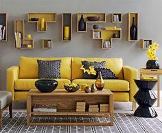 秋のインテリア:黄色とグレーで!