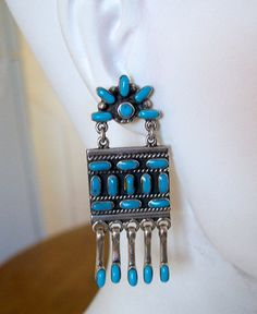 Vintage Taxco Turquoise Earrings Sterling by OldTreazureTrunk, $110.00