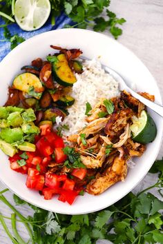 This Mexican Pulled Chicken is juicy and smoky- tender chicken thighs are shredded with two forks, perfect for burrito bowls, tacos, enchiladas, and more! Crockpot Shredded Chicken Tacos, Mexican Shredded Chicken, Shredded Chicken Recipes, Slow Cooker Chicken, Corn Chicken, Easy Baked Chicken, Pulled Chicken, Real Food Recipes, Veggie Recipes