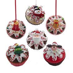 Christmas cupcake ornaments, snowman, Gingerbread, Santa Claus, reindeer and Christmas tree. Kurt Adler Christmas Ornaments at Shelley B Home and Holiday