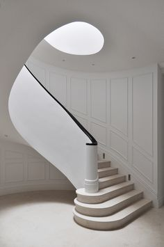"""How to choose a look & style: Add """"WOW"""" with Interior Panelling Wainscoting Wall Paneling, Stair Paneling, White Paneling, Wall Panelling, Timber Mouldings, Timber Panelling, Curved Staircase, Staircase Design, Curved Walls"""