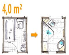 Badplanung Beispiel 4 qm Spezielle Duschlösung im ehemaligen Wannenbad