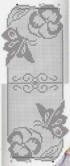 "crochet - caminhos de mesa -runners - Raissa Tavares - Picasa Web Albums ""Runner fiori e farfalle filet modano"", ""images attach c 11 114 ""Loin Crochet Table Runner Pattern, Crochet Doily Patterns, Crochet Tablecloth, Crochet Motif, Crochet Designs, Crochet Doilies, Stitch Patterns, Knit Crochet, Filet Crochet Charts"