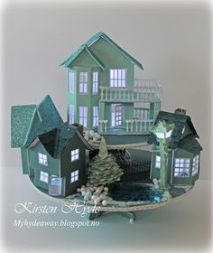 Glitter houses with lights. Made by Kirsten Hyde