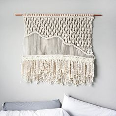 Large Macrame Wall hanging Dope Rope is home to modern-bohemian wall hangings that are meant to bring texture and dimension to any wall or room in your house. Your piece is made by hand using natural unbleached cotton and copper. • • • SIZING Sizing is approximate: Width - 44 Length -