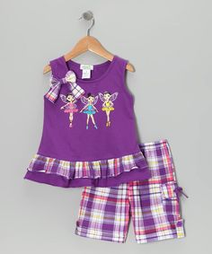 Take a look at this Purple Fairy Tunic & Plaid Shorts - Infant, Toddler & Girls by Littoe Potatoes on #zulily today!