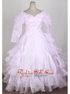 Baby Pink 2013 Popular Flower Girl Pageant Dress With Long Sleeves Embroidery and Ruffled Layers Decorate  http://www.fashionos.com  http://www.facebook.com/fashionos.us  This noble dress encrusted by rolling flower sleeves and special flower pattern embroidery bodice. Layers of organza complete the full skirt. Zipper-u pback. Customize to your special requirements.