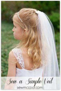 Learn how to sew a simple veil for yourself or a little flower girl. Spend just a few dollars and about 30 minutes for a great DIY veil. Wedding Hairstyles With Veil, Diy Hairstyles, Veil Diy, Simple Veil, Communion Hairstyles, First Communion Veils, Serger Sewing, Tulle, Sewing For Kids