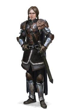 Female Human Fighter Warrior - Pathfinder PFRPG DND D&D 3.5 5th ed d20 fantasy