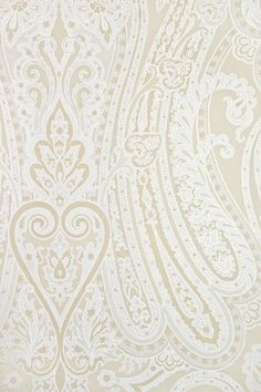 Mulberry Paisley Wallpaper Large, bold Paisley design wallpaper in Ivory and whi… Mulberry Paisley Wallpaper Large, bold Paisley design wallpaper in Ivory and white with fine gold embellishment. Paisley Wallpaper, Flowery Wallpaper, Gold Wallpaper, Wallpaper Decor, Print Wallpaper, Mulberry Home, Paisley Design, Bold Prints, Colour Schemes