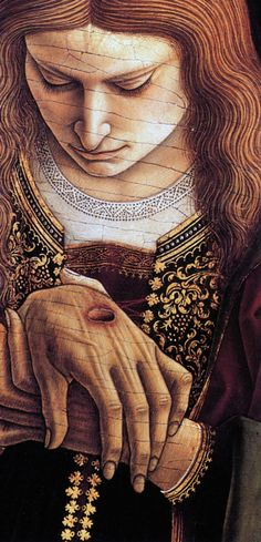 "The moment the Apostle Thomas reads his name in the nail prints.  (Art by: CRIVELLI) ""Behold, I have graven thee upon the palms of my hands; thy walls are continually before me.""  Isaiah 49:16"