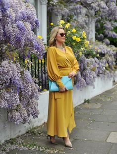 The Ultimate Sleeved Maxi Dress - The Sequinist Modest Maxi Dress, Maxi Dress With Sleeves, Floral Maxi Dress, Mustard Colored Dress, Gold Flat Sandals, Stylist Pick, Long Sleeve Maxi, Fast Fashion, Wrap Dress